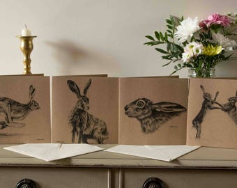 Four Pack Hare Greetings Cards