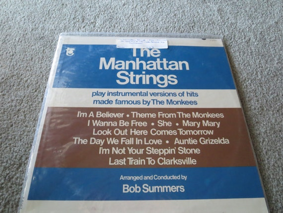 David Jones Personal Collection Record Album - The Manhattan Strings - Play Instrumental Versions Of Hits Made Famous By The Monkees