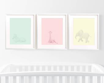 nursery art prints, safari wall prints, nursery decor, safari art prints, nursery wall art, nursery prints, elephant art, elephant wall art