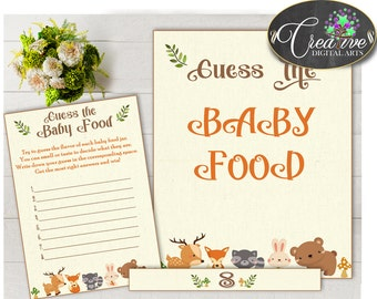 GUESS The BABY FOOD game woodland baby shower with forest animals printable, deer fox etc, digital files, Jpg, Pdf, instant download - w0001