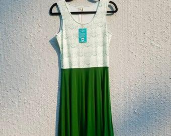 Pug dress, knit dress, pug knit dress, green dress, tank dress, bamboo dress, cotton dress, jersey dress, fit and flare dress, fit and flare
