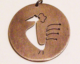 Vintage Modernist Sterling Silver Cutout Bird Pendant