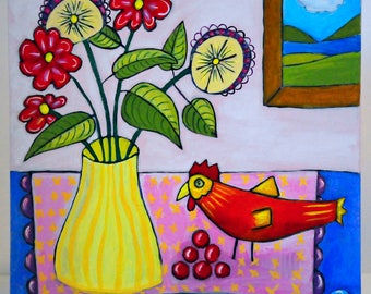 Folk Art Bird Painting - Still Life Painting - Acrylic Painting - Chicken Painting - Bird Art - Bird Lovers - Folk Art Painting