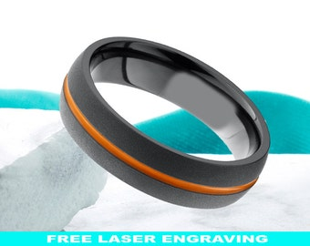 Black Zirconium Band 7mm Dome Brushed Orange Black Promise Ring Anniversary Ring Mens Womens Wedding Band Comfort Fit FREE Laser Engraving