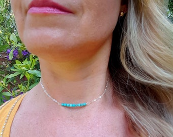 Tiny Turquoise bead necklace Sterling Silver or 18K Gold Fill - many other stones also -Chakra healing jewelry gift