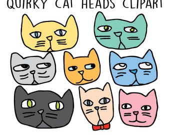 Cat Clipart - Hand Drawn Clipart - Cat Doodles Clip art - Cat Faces Illustration