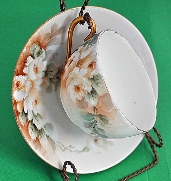 Antique HAND PAINTED White Roses Floral Cup and Saucer, Eggshell Porcelain, Fine China, Gold Handle No Signature Very Good Vintage Condition