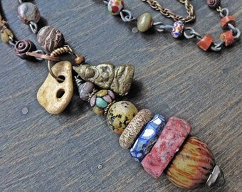 """Rustic totem lariat necklaces, cairn stone stacks in shades of earthy brown, long bohemian art jewelry by fancifuldevices- """"Azoth"""""""