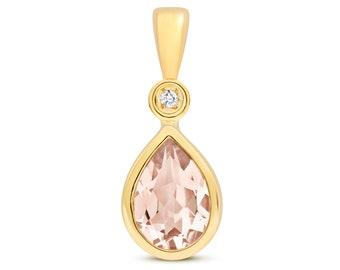 9ct Yellow Gold & Diamond 7x5mm Pear Cut Pink Morganite Pendant
