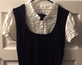 Vintage 90s Black and Cream Sweater Vest/Blouse Combo Size Medium