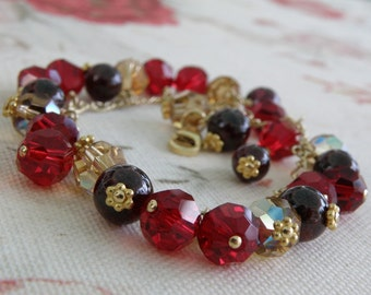 Red Garnet Bracelet, Gold Filled, Red Stone Beaded, Christmas Bead 8 mm, Wedding Jewelry, January Birthstone, Birthday Ready to Ship Gift