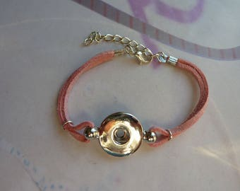 1 button pressure 19mm pink lined suede adjustable cord bracelet