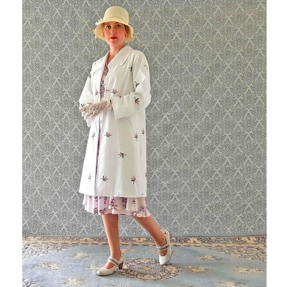 Vintage Style Coats, Jackets, Faux Fur, Tweed 1920s cotton coat in off white and floral emboridery $150.00 AT vintagedancer.com