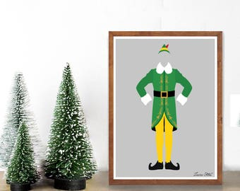 Buddy Elf Poster/Print - minimalist santa i know him elf buddy holiday santa christmas poster art decor