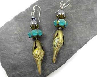 Handmade organic lampwork earrings, ooak lampwork earrings, artisan dangle earrings, headpin earrings