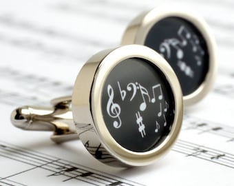 Musical Notes Cufflinks in Black and White PC222