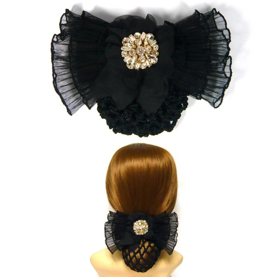 Kristall Strass Perlen dekor grossen schwarzen Chiffon Spitze