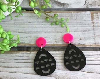 Aztec drop earrings - hot pink studs - black and pink earrings - aztec design - Australian made.