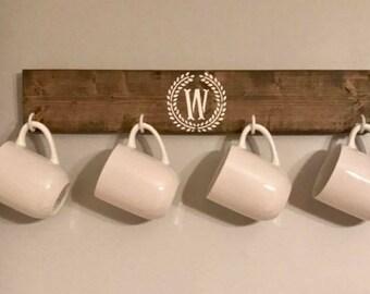 Rustic Farmhouse Wooden Monogram Coffee / Tea Mug Holder/Farmhouse Decor