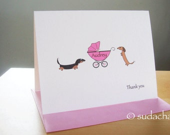 Dachshunds with Baby Buggy.Carrier.Stroller.Pram Note Cards - Choose Your Color (set of 10)