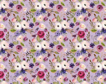 Lavender Floral Fabric by the Yard. Quilting Cotton, Organic Knit, Jersey or Minky. Flowers Peach Purple Baby Children's Fabric Wildflower