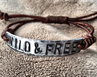 WILD and FREE ID Bracelet, silver, leather, Hand Stamped Pewter, Inspirational jewelry, bracelet with words,
