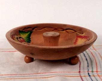 Cinco De Mayo Vintage nut cracker bowl Hand Painted on South American wood Kitchen Home decor Rustic handmade vintage centerpiece 9 x 2