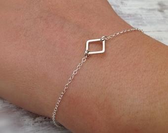 Sterling silver bracelet, silver bracelet, silver square link, delicate bracelet, thin bracelet, small bracelet, anklet -515