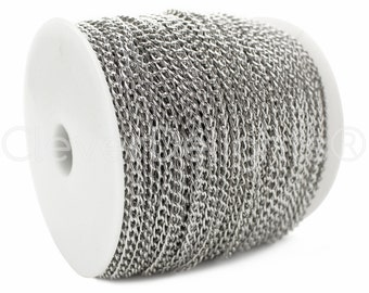 330 Ft - 3x5mm Curb Chain - Antique Silver (Platinum) Color - For Necklaces & Custom Jewelry - 3mm x 5mm Twisted Oval Links - 100M Spool