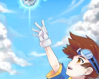 Taichi Digimon Adventure   digivice, digimon poster, digimon print, digimon art, anime poster, anime print, video game print, tai