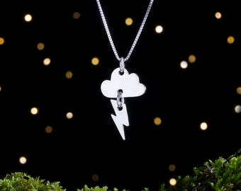 Sterling Silver Thundercloud & Lightning Bolt - Stormy Weather - (Pendant, Necklace or Earrings)