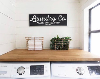Laundry Co -  Wash Dry and Fold | Joanna Gaines | Laundry Sign |  Fixer Upper Inspired | Farmhouse Vintage Laundry Sign