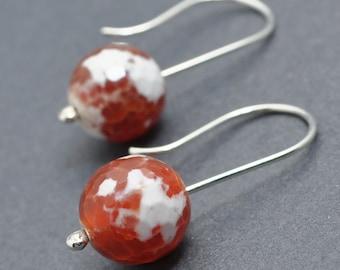 Fire Agate Earrings, Sterling Silver Earrings, Gemstone Earrings