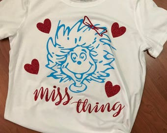 Dr Seuss - The Cat in the Hat - Thing 1 - Thing 2 - Miss Thing Tee - T Shirt