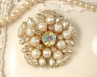 Gold Ivory Pearl & Champagne Rhinestone Bridal Hair Comb OR Sash Brooch, Vintage Wedding Dress Pin/Pearl Headpiece Country Rustic Chic Clip