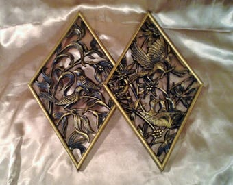 Pair of Diamond Shaped Wall Plaques - Black & Gold with Pictures of Birds and Flowers - Mid Century Burwood Products