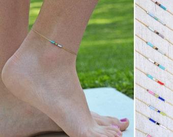 friendship anklet, Minimalist Anklet gold, Tiny beaded Anklet,  thin gold Anklet, skinny anklet, Layering anklet, anklet, beach anklet