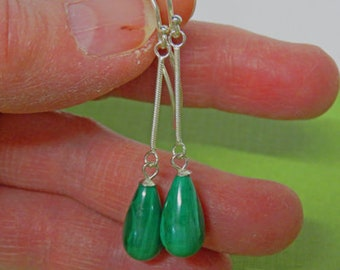 Malachite Earrings - Natural Malachite Teardrop & Sterling Silver Earrings - Malachite Dangle/Drop Earrings