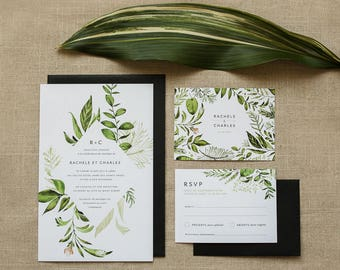Invitation printable vegetable wedding Invitation & RSVP, greenery, green, white