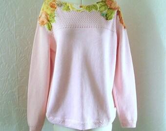 Zero waste, Pastel pink restyled jumper, vintage, applique, frayed, rose, UK 18, US 16, blogger, embroidered, beaded, spring