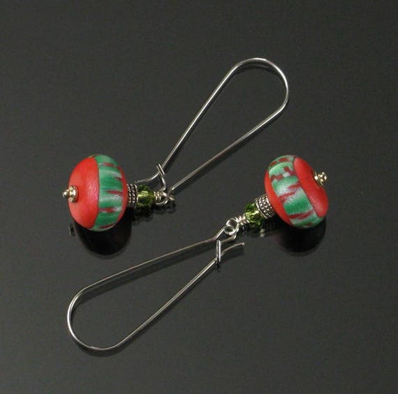 Modern Christmas Earrings, Christmas Jewelry, Polymer Clay Earring, Long Holiday Earrings, Red Green Dangle Earring, Christmas Gift Earrings