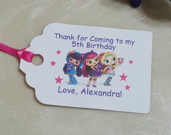 Personalized Favor Tags 2.5'', Little Charmers Favor Tag Labels -Party Decor,  Nick Jr.