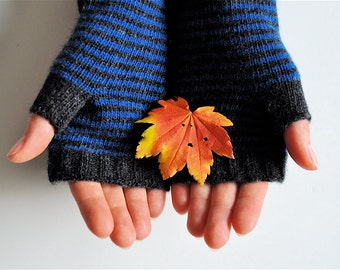 Long Fingerless Gloves, Hand Warmers, Charcoal & Blue Stripe, Made to Order