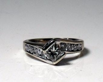 Engagement Ring - 14K White Gold - 1 carat total diamond weight RF493