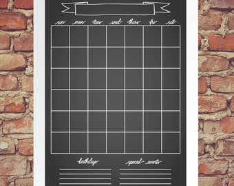"""Monthly Calendar Poster - 11x14"""" & 16x20"""" - Instant Download"""
