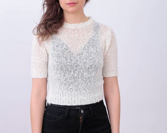 90s Open Knit Short Sleeved Crop Top Sweater in Cream Size Extra Small-Small