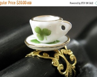 SUMMER SALE Porcelain Teacup Ring. Green Clover Tea Cup Ring. Gold Filigree Adjustable Ring. Handmade Jewelry.