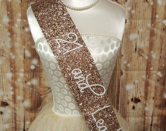 21st Birthday Sash - Glitter Sash - Personalised Sash - Any Age - 21 and legal - gold glitter handmade sparkle - can be personalised