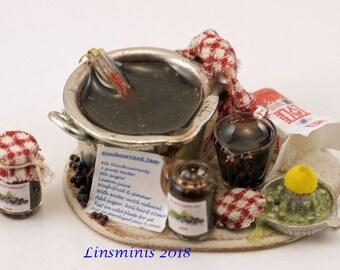 "12th scale handmade dollhouse miniature ""Making Blackcurrant Jam"""