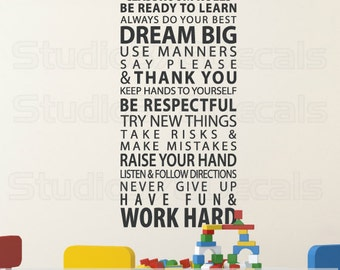 Teacher Decor Classroom Rules Wall Decal | School Teacher Decorations | Rules for the Classroom | Teacher Gift Idea | Vinyl Wall Decal